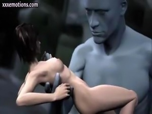 3D animated babe is getting touched and fingered by a giant