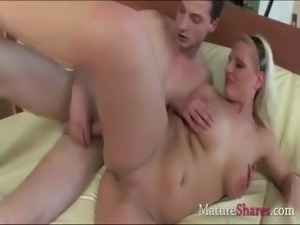 Chubby blonde housewife Mia rear fucked