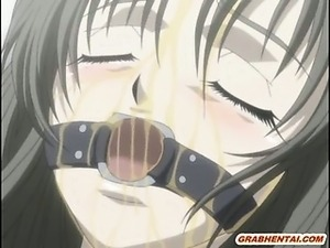 Captive hentai nurse with muzzle gets squeezed her bigtits