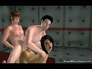 3D cartoon babe enjoying some double penetration