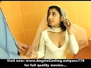 Sexy brunette indian bride talking with a guy
