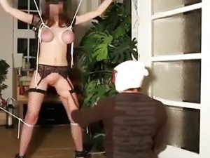 Brutally fist fucked busty amateur slave