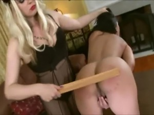 Blonde femdom spanks and dominates her lesbian submissive