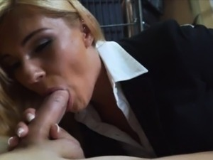 Hot blonde milf fucked at the pawnshop to earn extra money