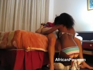 Young petite African Maria blows big white rod in homemade free