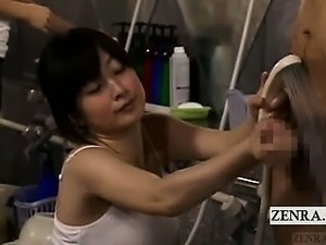 Subtitled CFNM Japanese bath accidental handjob cumshot