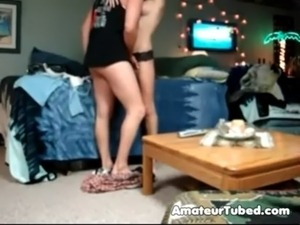Amateur couple sextape in living room free