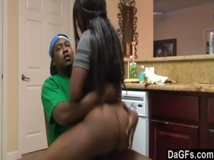 Ebony with a big ass gets fucked during the dishes free