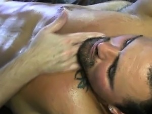 Muscle jock getting nob massaged