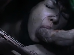 Lustful asian bitch sucking tentacle