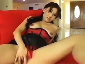 Asian Whore Wearing Lingerie Masturbatin