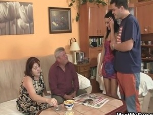 Innocent girl is seduced by granny and fucked by old  guy
