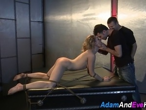 Kinbaku tied slave gets whipped and fetish fucked by several cocks