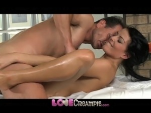 Love Creampie Young beauty gets oil massage and cum in her tight young hole free
