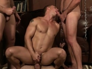 Muscled hunk jizzed on while riding cock