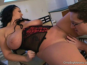 Mature Reny gets her big tits sucked then blows hard on the guys cock. She...