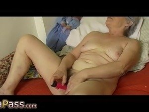 Granny masturbate hairy pussy use dildoand cucumber, granny with two guys,...