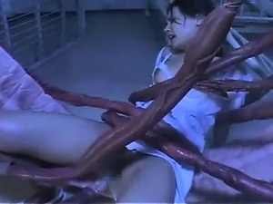 Tentacle does cumshot on hot asian pussy