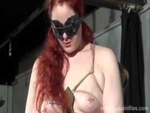 Lesbian tit tortures and amateur bdsm of enslaved redhead in bondage free
