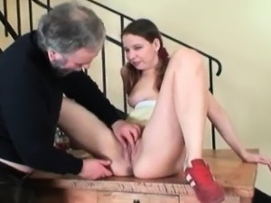 Super sexy babe sucks grandpa\'s cock