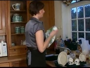 Mature with big ass and young boy on kitchen