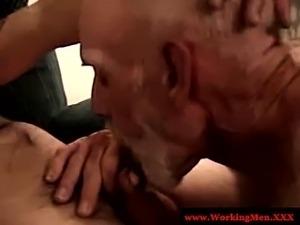 Blue collar dude giving blowjob