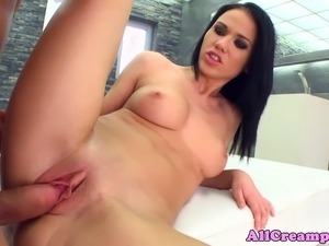 Creampie loving babe fucked roughly and gets what she wants