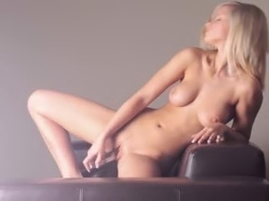 Busty blonde schoolmate dildoing snatch
