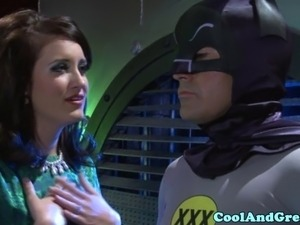 Roleplay babe sucking superhero cock