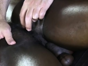 Ebony muscle jock gets ass fingered