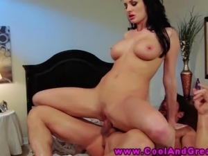 Busty MILF bounces on slong and taking a cumshot on pussy