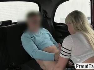 Massive boobs blondie whore fucked the pervert driver
