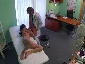 Tattooed brunette amateur girl came to doctor because she has chest pain and...