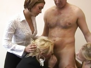 CFNM femdoms shove cock in their mouths
