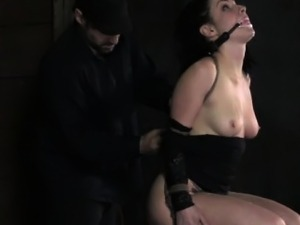 Gagged sub getting nipples punished