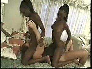 Blue-eyed ebony twins fucked by a white dude
