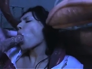Sexy asian nurse licking thick tentacle