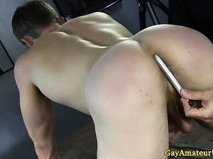 Amateur straight guy bent over and toyed