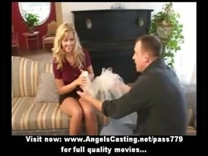 Amateur lovely blonde bride nice talking and doing blowjob for a guy