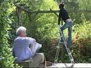 Old man (grandpa) fucks beautiful teen in the garden free