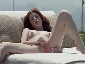 neat redhead opening vagina outside