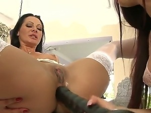 Enjoy delightful lesbian chicks Mira Sunset and Sandra Romain tucking monster...