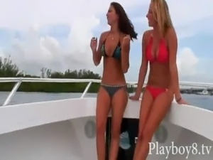 Two sexy babes in bikini banged on turns in a yacht free