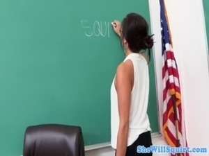 Squirting amateur swallows students cum free