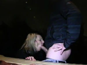 Blonde amateur banging lean on back of van in public
