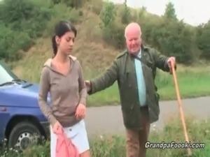 Cute babe seduces grandpa on the road free