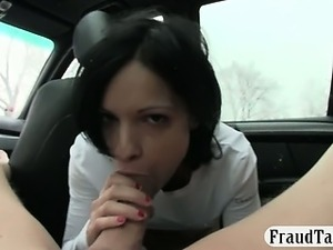 Horny black haired amateur hottie fucked by pervert driver