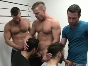 Prison line up that turns into a bj orgy