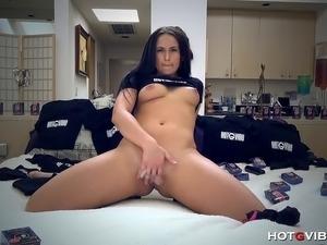 The young and boisterous, Nina Dove, tries out a bunch of sex toys on her...