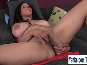 Superb busty brunette amateur girl Shannon rubbing her hairy twat and asshole...